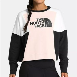 North Face XL Pink Train N logo Crop sweatshirt